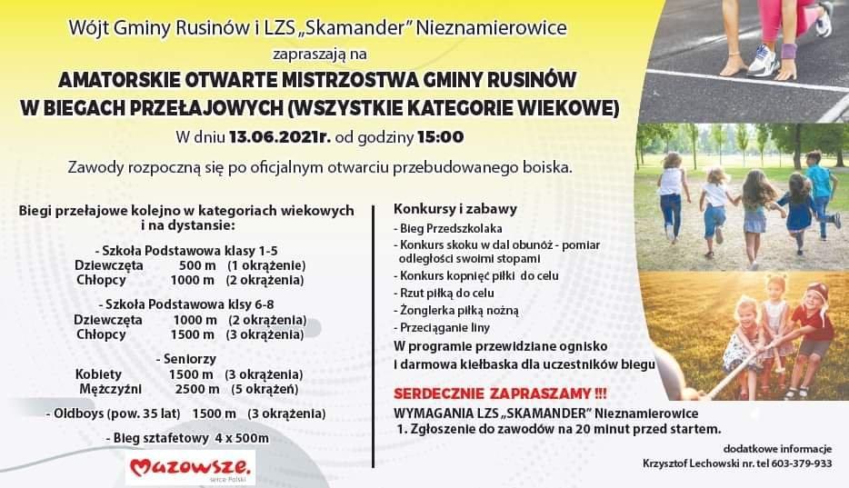 """Wójt Gminy Rusinów i LZS """"Skamander"""" Nieznamierowice zapraszają na AMATORSKIE OTWARTE MISTRZOSTWA GMINY RUSINÓW W BIEGACH PRZEŁAJOWYCH"""